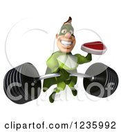 Clipart Of A 3d Caucasian Green Super Hero Man Holding A Steak And A Barbell Royalty Free Illustration