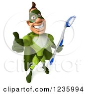 Clipart Of A 3d Caucasian Green Super Hero Man Holding A Thumb Up And Toothbrush Royalty Free Illustration