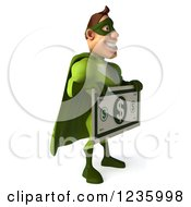 Clipart Of A 3d Caucasian Green Super Hero Man Holding A Giant Dollar Bill Royalty Free Illustration