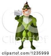 Clipart Of A 3d Caucasian Green Super Hero Man Holding Up A Business Card Royalty Free Illustration