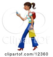 Clay Sculpture Clipart Shopping Woman Texting On Her Cell Phone Royalty Free 3d Illustration