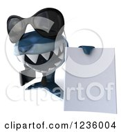 Clipart Of A 3d Blue Shark Business Man Holding A Contract 3 Royalty Free Illustration