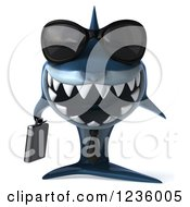 Clipart Of A 3d Blue Shark Business Man Wearing Sunglasses Royalty Free Illustration by Julos