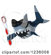Clipart Of A 3d Shark Wearing Sunglasses And Holding A Toothbrush 2 Royalty Free Illustration