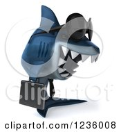 Clipart Of A 3d Blue Shark Business Man Wearing Sunglasses 2 Royalty Free Illustration