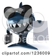 Clipart Of A 3d Blue Shark Business Man Holding A Contract 2 Royalty Free Illustration