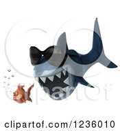 Clipart Of A 3d Shark Wearing Sunglasses And Chasing A Fish Royalty Free Illustration