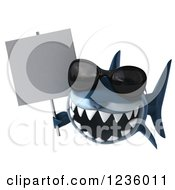 Clipart Of A 3d Shark Wearing Sunglasses And Holding A Sign Royalty Free Illustration
