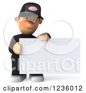 Clipart Of A 3d Sad Auto Mechanic Man Holding A Sign Royalty Free Illustration