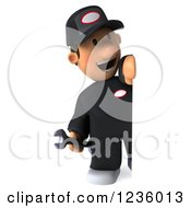Clipart Of A 3d Happy Auto Mechanic Man Looking Around A Sign Royalty Free Illustration