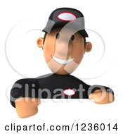 Clipart Of A 3d Happy Auto Mechanic Man Looking Over A Sign Royalty Free Illustration