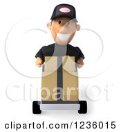 Clipart Of A 3d Auto Mechanic Man Moving Boxes On A Dolly 3 Royalty Free Illustration