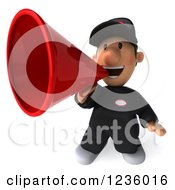 Clipart Of A 3d Auto Mechanic Man Announcing With A Megaphone 3 Royalty Free Illustration