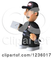 Clipart Of A 3d Happy Auto Mechanic Man With An Envelope 3 Royalty Free Illustration