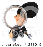 Clipart Of A 3d Happy Auto Mechanic Man With A Magnifying Glass 3 Royalty Free Illustration