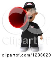 Clipart Of A 3d Auto Mechanic Man Announcing With A Megaphone 2 Royalty Free Illustration