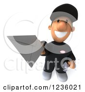 Clipart Of A 3d Happy Auto Mechanic Man With An Envelope 2 Royalty Free Illustration