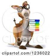 3d Talking Bespectacled Kangaroo Holding A Stack Of Books