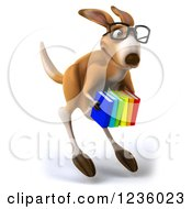 Clipart Of A 3d Bespectacled Kangaroo Holding A Stack Of Books 3 Royalty Free Illustration