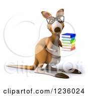 3d Bespectacled Kangaroo Holding A Stack Of Books 2