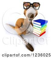 Clipart Of A 3d Bespectacled Kangaroo Holding A Thumb Up And Stack Of Books Royalty Free Illustration