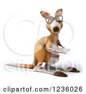 Clipart Of A 3d Bespectacled Kangaroo Reading A Book 3 Royalty Free Illustration
