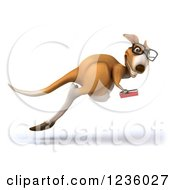 Clipart Of A 3d Bespectacled Kangaroo Hopping And Reading A Book Royalty Free Illustration
