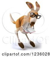Clipart Of A 3d Bespectacled Kangaroo Hopping And Reading A Book 2 Royalty Free Illustration
