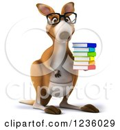 3d Bespectacled Kangaroo Holding A Stack Of Books