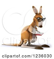 Clipart Of A 3d Bespectacled Kangaroo Reading A Book 2 Royalty Free Illustration