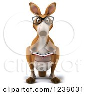 Clipart Of A 3d Bespectacled Kangaroo Reading A Book Royalty Free Illustration by Julos