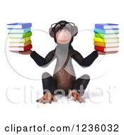 Clipart Of A 3d Bespectacled Chimpanzee Monkey Sitting And Holding Books Royalty Free Illustration