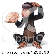 Clipart Of A 3d Thinking Chimp Holding A Brain 3 Royalty Free Illustration