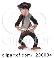 Clipart Of A 3d Bespectacled Chimpanzee Monkey Walking And Reading A Book Royalty Free Illustration