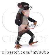 Clipart Of A 3d Bespectacled Chimpanzee Monkey Walking And Reading A Book 2 Royalty Free Illustration