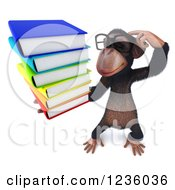 Clipart Of A 3d Bespectacled Chimpanzee Monkey Thinking And Holding Books 3 Royalty Free Illustration