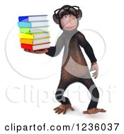 Clipart Of A 3d Bespectacled Chimpanzee Monkey Walking And Holding Books Royalty Free Illustration