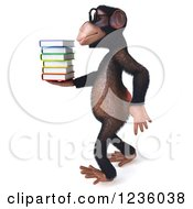 Clipart Of A 3d Bespectacled Chimpanzee Monkey Walking And Holding Books 2 Royalty Free Illustration