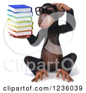 Clipart Of A 3d Bespectacled Chimpanzee Monkey Thinking And Holding Books Royalty Free Illustration