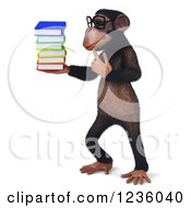 Clipart Of A 3d Bespectacled Chimpanzee Monkey Thinking And Holding Books 2 Royalty Free Illustration