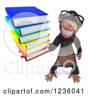 Clipart Of A 3d Bespectacled Chimpanzee Monkey Holding Books Royalty Free Illustration
