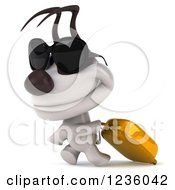 Clipart Of A 3d Traveling Jack Russell Terrier Dog With A Suitcase And Sunglasses Royalty Free Illustration