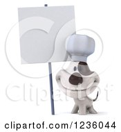 3d Chef Jack Russell Terrier Dog Smiling By A Sign