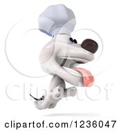 Clipart Of A 3d Chef Jack Russell Terrier Dog Running 2 Royalty Free Illustration by Julos