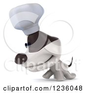 Clipart Of A 3d Chef Jack Russell Terrier Dog Walking With His Head Low Royalty Free Illustration by Julos