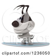 Clipart Of A 3d Jack Russell Terrier Dog Surfing Royalty Free Illustration
