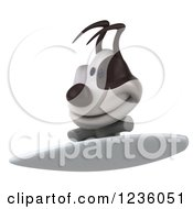 Clipart Of A 3d Jack Russell Terrier Dog Surfing 2 Royalty Free Illustration