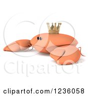 Clipart Of A 3d Nervous King Crab 2 Royalty Free Illustration by Julos