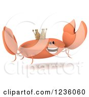 Clipart Of A 3d King Crab Jumping 2 Royalty Free Illustration by Julos