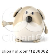 Clipart Of A 3d Chubby Dog Presenting Royalty Free Illustration